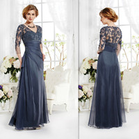 Wholesale 2015 Vintage Navy Blue Mother Of The Bride Groom Dresses Sleeves Appliques Lace A line V neck Custom Made Winter Evening Party Gown