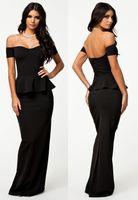 Wholesale 2014 New Plus Size XL Bandage Cocktail Party Runway Dress G6244 Black Maxi Lolita Women Black Peplum Maxi Evening Dress With Drop Shoulder