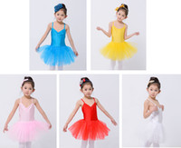 Wholesale five colours children girls ballet tulle skirt tutu leotard dance dress with underpants yrs
