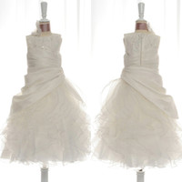 Wholesale Real Image Satin and Organza Flower Girls Dresses A line Crew Neck Sequins Ruffles Layers Skirt Draped Girls Formal Occasion Gowns Cheap