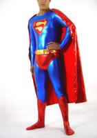 achat en gros de rouge métallique zentai-Custom-Made Brillant Métallisé Halloween Costume de super Héros en Spandex Matériel de Rouge et de Bleu Superman Costumes Zentai costume Avec Manteau