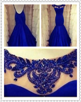 Wholesale Real Image Backless Evening Dresses Royal Blue Mermaid High Neck Beading See Through Formal Dress Prom Pageant Dresses Gowns WH561