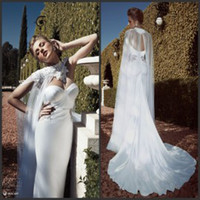 Cheap Sweetheart Wedding Gowns with Shawl 2015 Sexy Backless Bridal Gowns Court Train Stretch Satin Mermaid Fishtail Wedding Dresses with Wraps
