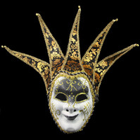 Wholesale Novelty Party Jester Jolly Mask Venetian Masquerade Mask Color Painting Full Face Mask Party Supplies SD233