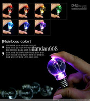 Wholesale 40pcs Creative LED light bulb keychain Bright light bulb key ring Mini colorful
