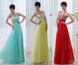 Wholesale Cheap Real Images Sweetheart Prom Party Dresses Pleated Mint Red Yellow Chiffon Floor Length Bridesmaid Evening Bridal Gowns Under
