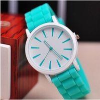 watch silicon gel - Fashion Women Men Watches Geneva Quartz Wristwatch Ultrathin Rubber Silicon Gel Candy color Wrist Watches Lovers Girls Christmas Gift