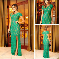 Wholesale 2014 Elegant Scoop Neckline Capped Short Sleeves Lace Green Prom Party Dresses Split Side Floor Length Evening Gown Hot Sale