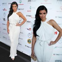 Cheap New 2014 Kim Kardashian Fashion Halter White Pleats Chiffon Floor-length Evening Dresses High Neck Sexy Mermaid Red Carpet Celebrity Dresses