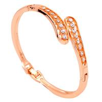 Wholesale Yazilind Jewelry Elegant Jewelry Rhinestone Inaly K Yellow Gold Filled Bracelet Hollow Bangle