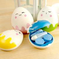 Wholesale Egg Design Fashion Storage Holder Contact Lens Box Cleaning Case Set Cosmetic E801