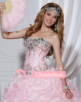 Wholesale 2014 Colorful Luxury Pink Pageant Dresses Beads Crystal Sweetheart Floral Ball Gown Girl Quinceanera Dress Stones BO6304 Wedding Party Gowns