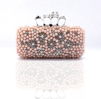 Cheap drop shipping 2014 New arrival luxury pearl evening bags diamonds skull ring clutch bags chain designer purses and handbags