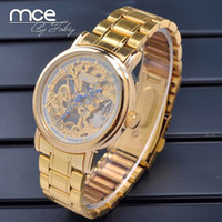 back drop - popular newest product automatic watches men stainless steel back gold color drop shipping
