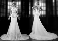 Cheap 2014 Chic Bien Savvy Peplum Lace Appliques Mermaid Wedding Dresses Beads Pleats High Colloar Zipper Back Court Train Bridal Gown