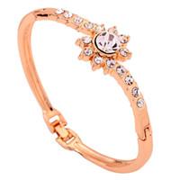 Wholesale Yazilind Jewelry Glaring K Yellow Gold Filled Bracelet Crystal Inlay Flower Bangle Bracelet Lady