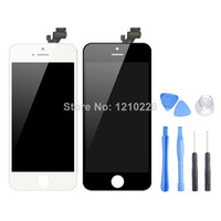 Cheap 10pcs lot 100%Original LCD Display screen for iphone 5 White Black Replacement touch Digitizer Assembly Free Shipping