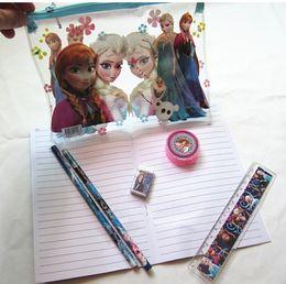 Wholesale 700pcs Christmas Frozen Pencil Cases Children Kids learning items Stationery set for students Pencils Ruler Eraser Sharpener Notebook