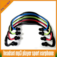 Wholesale Portable Wireless In Ear Headphone Earphones Headset Handsfree Sport MP3 Player Surpport SD TF Card FM Radio Function Headset MP3 Player