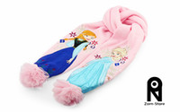 Wholesale Zorn Store Girls christmas gifts Pink frozen scarf Anna Elsa Children knit Accessories kids girl scarves