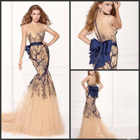 Wholesale 2015 Noble Illusion Neckline Mermaid Beaded Prom Dress Sash With Bowknot Sleeveless Sheer Nude Tulle Beautiful Party Evening Custom Made