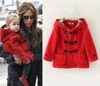 Cheap Girls' Outerwear Red Hooded Overcoat Horn button Pocket Coat 100% Cotton Top Quality LW17