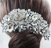 Wholesale Fashion Bridal Hair Accessories Wedding Hair Comb Rhinestone Crystal Rose Flower Hair Comb Bridesmaid Jewelry