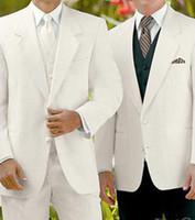 Cheap Free Shipping!Best White wedding Groom weare Tuxedos Notch Lapel Groomsmen Men's Wedding suits for men custom made cheap dress