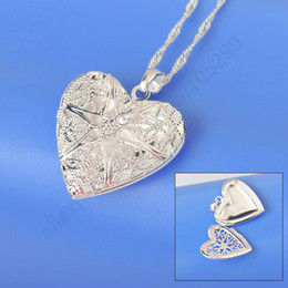 Wholesale 2014 Promotion Silver Necklace Sterling Silver Necklace Chains Heart Shape Open Case Frame Silver Pendant