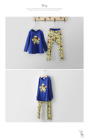 Wholesale 2014 Autumn Children Clothing Girls Lovey Flower Long Sleeve T shirts Kids Cute Floral Printed Tops For Yrs Yellow Blue Green I1800