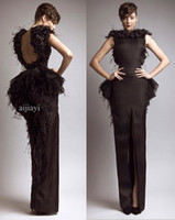Cheap Free Shipping 2014 New Glamorous Brown Bateau Keyhole Back Slit Peplum Feather Evening Dresses WH572
