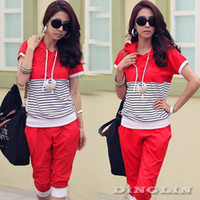 Cheap 2014 New Women Ladies Stripe Short Sleeve Casual Sport Sweat Suits Middle Pants Hoodie Tracksuits Sweatshirt Red Blue Black 0675