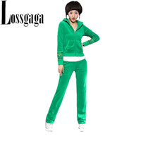 Wholesale 2014 Fashion Velour Tracksuit for Women Velvet Hoodies Zipper Jacket with Slim Female Pants Brand New Plus Size XXXL