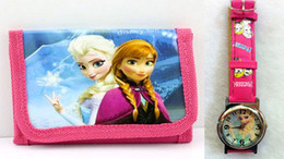 Factory Price Free shipping New 10pcs lot Frozen Kids Watch With Wallet Best Gift For Girs Boys Frozen Watchs + Wallet Gifts Set MiiRii