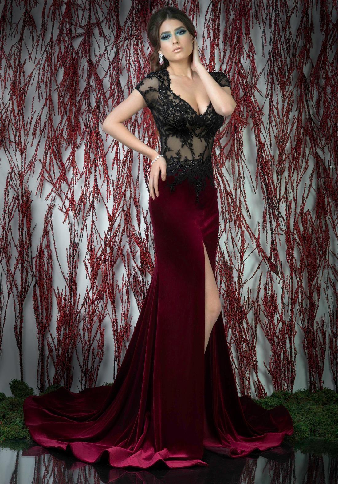 Burgundy Sheer Corset Formal Evening Dress Short Sleeve Appliques ...