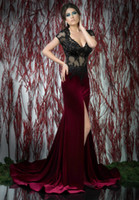 Cheap Burgundy Sheer Corset Formal Evening Dress Short Sleeve Appliques Tigh High Slit Open Back Long Evening Gown Beading Prom Dress For Wedding