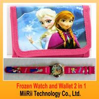 Wholesale 2014 frozen one direction kid fashion watch and wallet children quartz cartoon watch sets boys girls purse watch MiiRii MRBABY1001