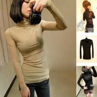 Ladies # 039; Donne # 039; s T-shirt Hollywood Star filato netto a maniche lunghe collare Collo ultrasottile maglietta liberano il trasporto