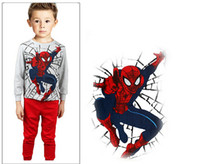 Wholesale 2014 Autumn New baby pajamas of the children Spider Man kids baby clothing set free ship