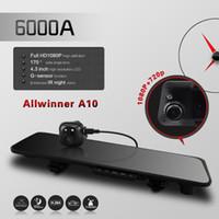 "Cheap car dvr Free shipping!6000A Car Rearview Mirror Camera DVR Dual Lens 4.3"" TFT LCD HD 1920x1080p Rear view camera 720P with GPS G-sensor"