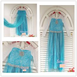 Wholesale 2014 Frozen Elsa Princess summer antumn party dress Birthday party pretty long sleeve frozen lace snow dresses