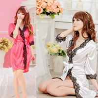 satin robe - NEW Sexy Satin Black Lace Lingerie Sleepwear Nightdress Robe G string Babydoll DH04
