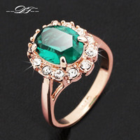 emerald ring - Elegant Green Rhinestone Emerald Ring K Gold Plated Crystal Brand Wedding Jewelry For Women anel aneis joias DFR088