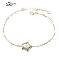 Wholesale 2015 New Shell Star Cubic Zirconia Party Bracelets Bangles K Gold Plated Fashion Brand CZ Diamond Jewelry For Women DFH168