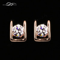 Wholesale Classic Elegant AAA CZ Diamond Stud Earrings K Gold Platinum Plated Crystal Fashion Party Wedding Jewelry For Women DFE216M