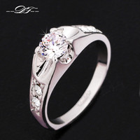 Wholesale Wedding Finger Rings CZ Diamond Platinum Plated Cubic Zircon Crystal Engagement Party Jewelry For Men And Women DFR110