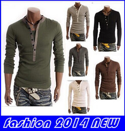 Wholesale Cotton fashion Men s Stylish Comfort Lycra Deep V Neck Long Sleeves T Shirt Tunic Button Tops Tees latest new top sale