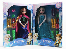High quality Frozen 12 Joints Action Figure Model Doll Toys Elsa and Anna with shoes Toy Set