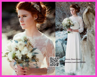 Cheap 2015 Real Model Muslim Scoop See Through Long Sleeve Wedding Dresses Lace Chiffon Bridal Gowns W3325