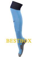 Wholesale 2015 New Season Manchester City Home Blue football socks Top Quality New Season Manchester City Soccer Socks football stocking